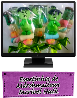 Espetinhos de Marshmallows Incrível Hulk